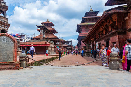 Kathmandu,Nepal - August 16,2019: View of Patan Durbar Square premises of Kathmandu Nepal.Tourist Travel Destination in Kathmandu.Places to visit in Kathmandu. Standard-Bild - 148731777