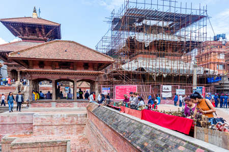 Kathmandu,Nepal - August 16,2019: View of Patan Durbar Square premises of Kathmandu Nepal.Tourist Travel Destination in Kathmandu.Places to visit in Kathmandu.Souvenir Shopping Standard-Bild - 148731778