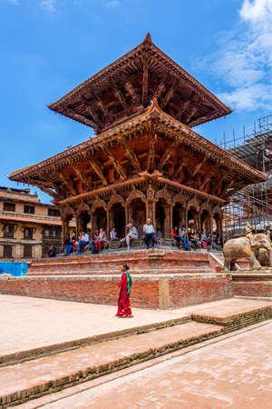 Kathmandu,Nepal - August 16,2019: View of Patan Durbar Square premises of Kathmandu Nepal.Tourist Travel Destination in Kathmandu.Places to visit in Kathmandu.Hindu Temple Standard-Bild - 148731779