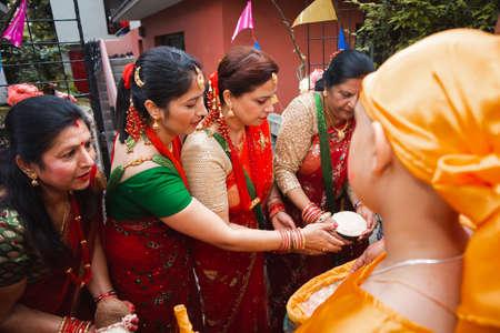 kathmandu,Nepal - June July 6,2019: Nepali women during religious ceremony Bratabandha in Kathmandu.Hindu People.Hindu Rituals
