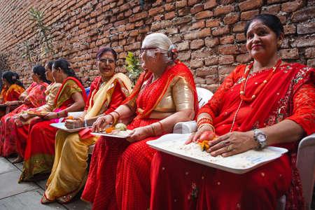 kathmandu,Nepal - June July 6,2019: Nepali women during religious ceremony Bratabandha in Kathmandu.Hindu People.Hindu Rituals Standard-Bild - 149030205