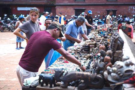 kathmandu,Nepal - August 16,2019: Tourists Shopping Souvenirs at Patan durbar Square in Kathmandu Nepal.Toursit Travel Destinations Nepal Standard-Bild - 149030209