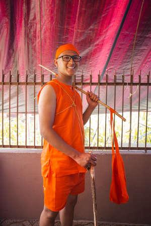 Kathmandu,Nepal - June 11,2019: Hindu Brahmin Boy Posing for a photograph during religious ceremony Bratabandha in Kathmandu.Hindu People Standard-Bild - 149030211