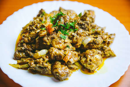 Dry Chicken cooked in a Nepali Style. Asian food Standard-Bild
