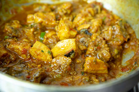 Indian Nepali Style Chicken Curry Gravy in a bowl. Meat curry