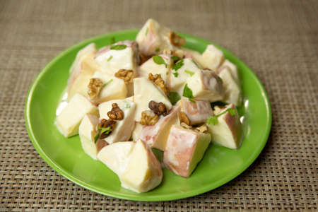 Apple Salad with Mayonnaise and walnuts,Walnut Salad.Fruit salad
