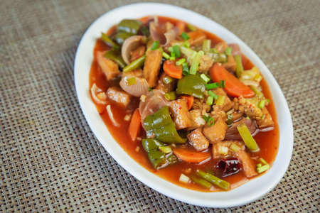 Mixed Vegetables in hot garlic sauce. Chinese food, Vegetables in sezchwan sauce
