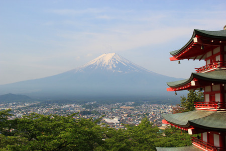 Fuji Mountain viewed from Chureito Pagoda at Arakura Sengen Shrine in Japan photo