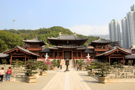 buit in: The Hong Kong Chi Lin Nunnery, a large Buddhist temple complex buit without using a single nail located in Diamond Hill, Kowloon, Hong Kong Editorial