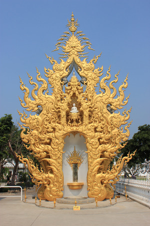 Rongkhun Temple or White Temple, a famous temple in Chiangrai, Thailand photo