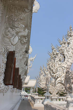 Beautiful Decoration at Rongkhun Temple  White Temple , a famous temple in Chiangrai, Thailand photo
