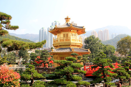 Chi Lin Nunnery, a large Buddhist temple complex located in Diamond Hill, Kowloon, Hong Kong