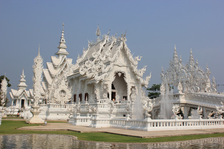 Rongkhun Temple, a famous temple in Chiangrai, Thailand photo