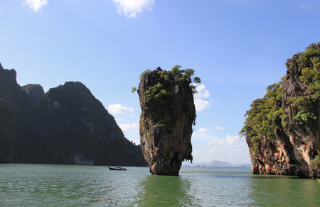 phuket province: James Bond Island or Khao Tapu, a part of the Phang Nga Bay National Park, featured in the James Bond movie  The Man with the Golden Gun