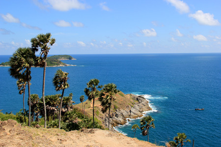 Phromthep Cape, the most phographed and best known location for watching sunset in Phuket, Thailand