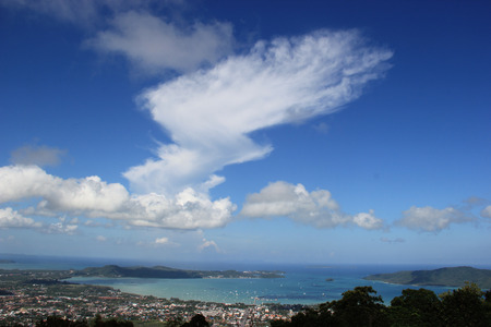 Phuket City and Ocean Scenery from the Top of Mountain photo