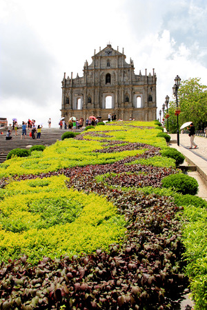 The Ruins of St  Paul, one of the famous tourist destinations in Macau