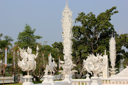 Beautiful Decoration within Wat Rong Khun or White Temple, a contemporary unconventional Buddhist temple in Chiangrai, Thailand, was designed by Arjan Chalermchai Kositpipat photo