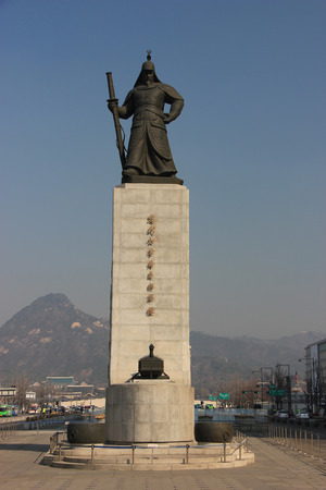 a war historian: Statue of Yi Sun-Shin, Korean Naval Commander, famed for his victories against the Japanese Navy during the Imjin War