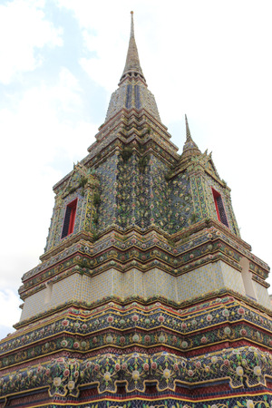 Pagoda at Wat Pho or Wat Phra Chettuphon Wimon Mangkhlaram Ratchaworamahawihan or Temple of the Reclining Buddha, one of famous landmarks in Bangkok, Thailand, well known as the birthplace of traditional Thai massage photo