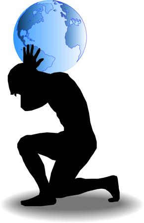 hombros: Un hombre est� llevando el mundo sobre sus hombros Vectores