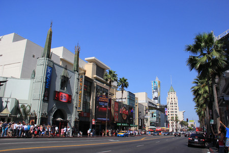 hollywood boulevard: Hollywood Boulevard, one of the top destinations in Los Angeles, California, lined with many Hollywood movie attractions