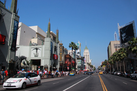 Los Angeles, California, USA - May 19, 2014: Hollywood Boulevard, one of the top destinations in Los Angeles, California, lined with many Hollywood movie attractions