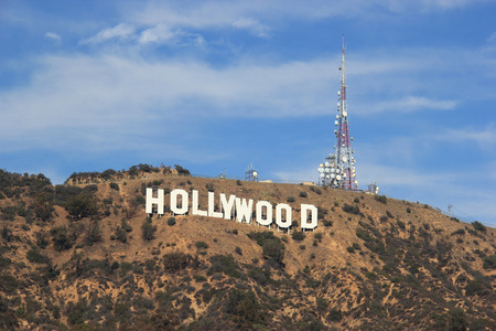 Los Angeles, California, USA - November 10, 2014: The Hollywood Sign is a landmark and American cultural icon located on Mount Lee in the Hollywood Hills area of the Santa Monica Mountains in Los Angeles, California. Editorial
