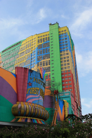Genting Highlands, Malaysia - April 3, 2013: First World Hotel is the fourth largest hotel in the world by number of rooms with a total of 6,118 rooms. In the area of 500,000 square foot plaza, it has shopping malls, arcades, casino and theme parks.