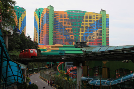 pahang: Genting Highlands, Malaysia - April 3, 2013: First World Hotel is the fourth largest hotel in the world by number of rooms with a total of 6,118 rooms. In the area of 500,000 square foot plaza, it has shopping malls, arcades, food outlets, casinos, indoor Editorial