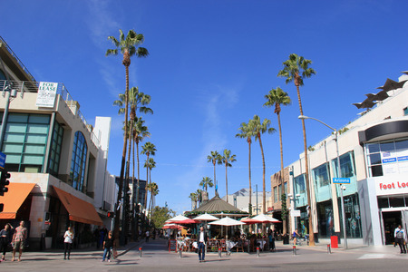 Santa Monica, California, USA - November 16, 2014: The Third Street Promenade is a premium shopping, dining and entertainment district in the downtown area of Santa Monica, California.