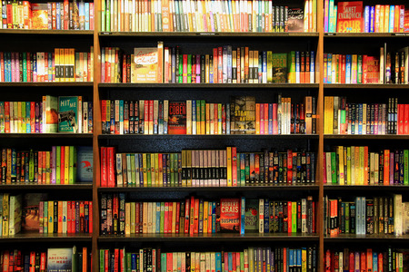 shelf: Santa Monica, California, USA - November 16, 2014: Many Different Books are arranged in order on Wooden Bookcases