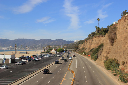Beautiful Scenery of Santa Monica Beach and Pacific Coast Highway in Southern California, United States.