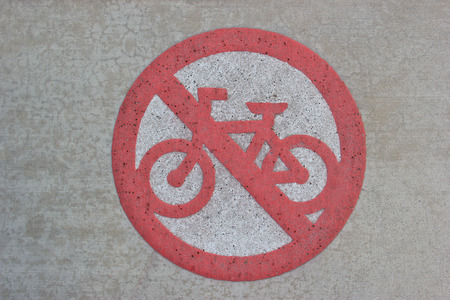 Street Sign for Cycling Prohibition Stock Photo