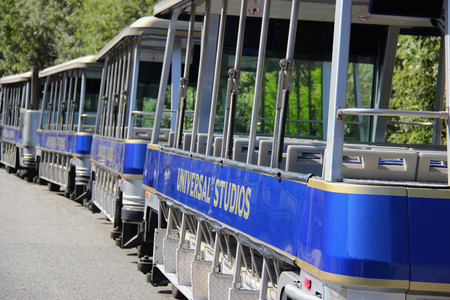 Los Angeles, California, USA - October 10, 2014: StudioTour Tram at Universal Studios Hollywood, which is the first film studio and theme park of Universal Studios Theme Parks across the world.