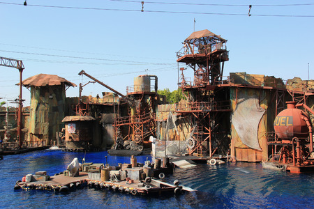 Los Angeles, California, USA - October 10, 2014: The Scene of a 20-minute water stunt show called Waterworld: A Live Sea War Spectacular at Universal Studios Hollywood