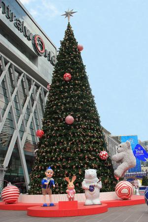 Bangkok, Thailand - November 25,  2013: Beautiful Christmas Decoration in front of Central World in Bangkok, Thailand.