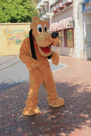 pluto: Anaheim, California, USA - May 30, 2014: Pluto, a Disney cartoon character, is greeting tourists at Main Street, U.S.A. in Disneyland Park, California.