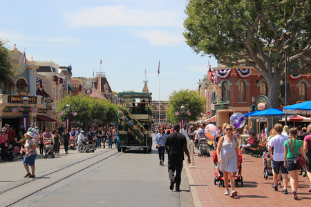 Anaheim, California, USA - May 30, 2014: Main Street, U.S.A., the first area guests see when they enter Disneyland Park, is created from Walt Disney Editorial