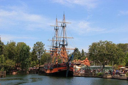 Anaheim, California, USA - May 30, 2014: The Sailing Ship Columbia, a full scale replica of Columbia Rediviva - the first American ship to circumnavigate the globe, at Frontierland, which is home to the Pinewood Indians Band of Animatronic Native American