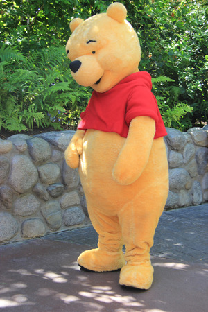 Anaheim, California, USA - May 30 , 2014: Pooh Bear, a main character from \\\Winnie-the-Pooh\\\ fiction, is greeting, tourists at Critter Country, Disneyland.