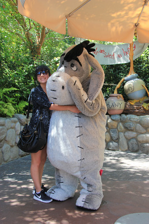 critter: Anaheim, California, USA - May 30 , 2014: Eeyore, a main character from \\\Winnie-the-Pooh\\\ fiction, is greeting, tourists at Critter Country, Disneyland. Editorial