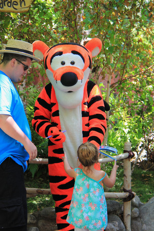 Anaheim, California, USA - May 30 , 2014: Tigger, a main character from \\\Winnie-the-Pooh\\\ fiction, is greeting, tourists at Critter Country, Disneyland.