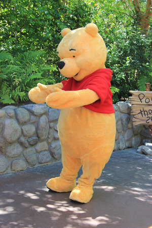critter: Anaheim, California, USA - May 30 , 2014: Pooh Bear, a main character from Winnie-the-Pooh\ fiction, is greeting, tourists at Critter Country, Disneyland.