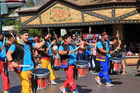Anaheim, California, USA - May 30, 2014: Marching Band for Disney Parade at Disneyland, California.