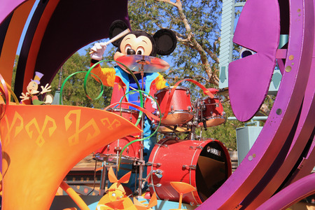 Anaheim, California, USA - May 30, 2014: Mickey Mouse in Disney Parade at Disneyland, California.