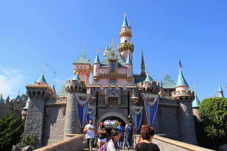 Anaheim, California, USA - May 30, 2014: Sleeping Beauty Castle, the fairy tale structure castle at Disneyland, is based on the late 19th century Neuschwanstein Castle in Bavaria, Germany with some French inspiration. Tourists are able to walk through the