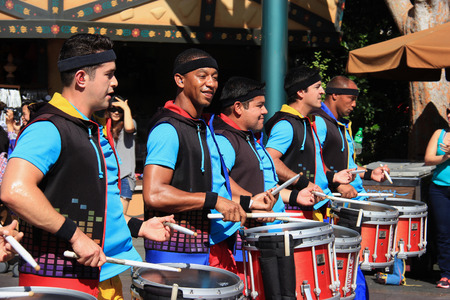 Anaheim, California, USA - May 30, 2014: Marching Band for Disney Parade at Disneyland, California.