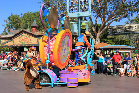 Anaheim, California, USA - May 30, 2014: Guffy and Chip and Dale Characters in Disney Parade at Disneyland, California.