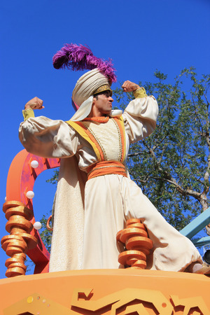Anaheim, California, USA - May 30, 2014: Aladdin in Disney Parade at Disneyland, California.